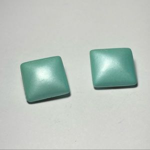 Vintage Square Turquoise Clip On Earrings